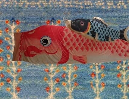 鯉のぼり 空色ギャッベに泳がせてみました